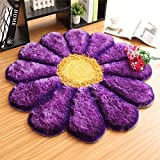 Wolala Home Cute Rose Flower Living Room Rug Simple Fashion Bedroom Bedside Area Rug Washable Non-slip Carpet (3'0X3'0, Light purple) Review