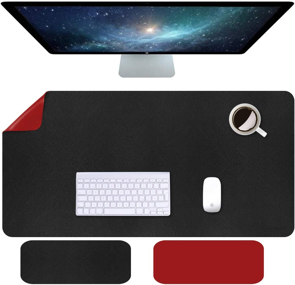"Anyshock Desk Pad, Dual-Side Use Mouse Mat, Waterproof PU Leather Desk Blotter Protector Mouse Pad, Multifunctional Desk Writing Mat for Office,Game, Laptop, Home (Black+Red, 31.5"" x 15.7"")"