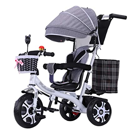 Carrito de Bicicleta Triciclo para Cochecito de bebé 4 en 1 con asa Ajustable y arnés
