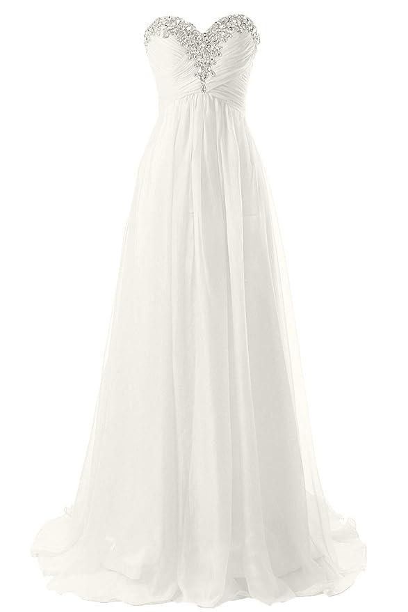 JAEDEN Brautkleid Lang Chiffon Hochzeitskleider Damen: Amazon.de ...