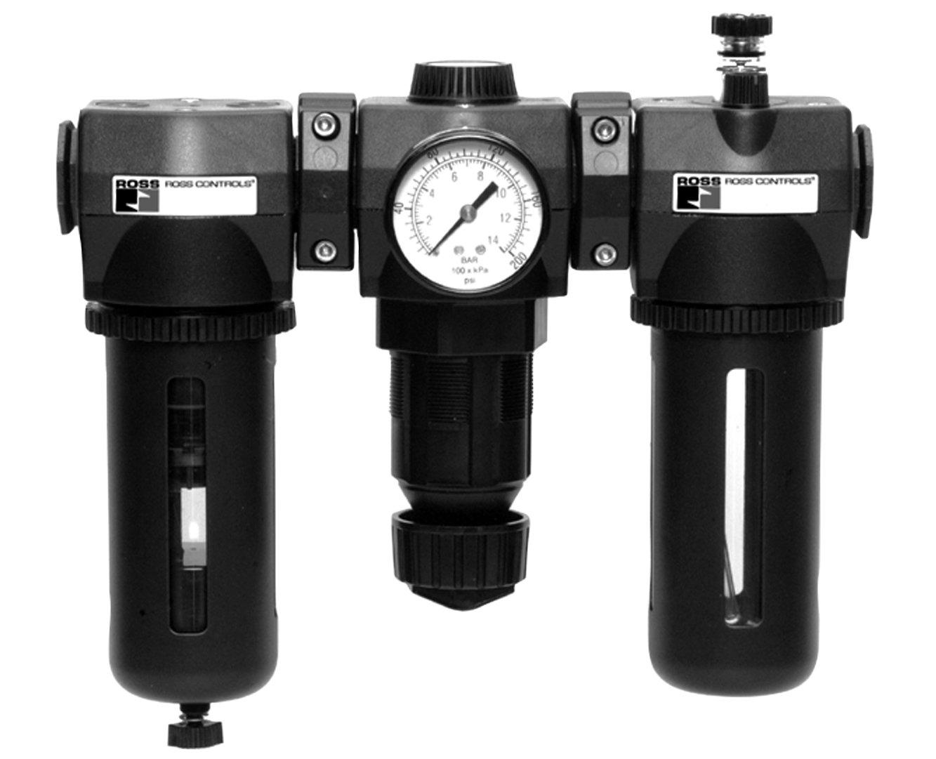 Pressure Range Ross Controls MD453PAA6B32S Regulator plus Lubricator MD4 Series Diaphragm Valve 0-12.1 Gauge Threaded Ports 3//8 NPT Threaded Ports 3//8 NPT 0-200 0-175 psig 0-14 40 /µm Sintered Bronze Filter