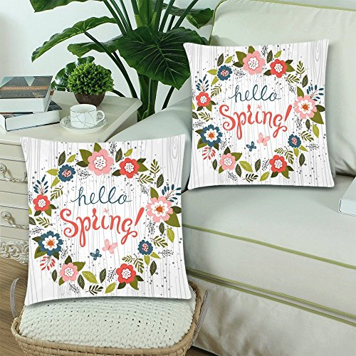 InterestPrint Hello Spring with Wood Throw Pillow Cover Cushion Case 18x18, Flower Wreath Funny Cotton Pillowcase Set for Couch Sofa Home Decorative, Set of 2 by InterestPrint (Image #1)