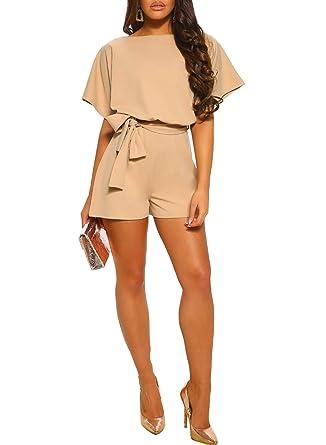 e3bea6b36e Amazon.com  Azokoe Womens Summer Short Sleeve Belted Romper Playsuit Short  Pants Jumpsuit  Clothing