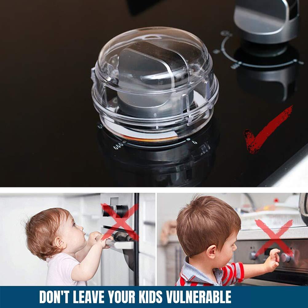 6 piezas Cocina de gas Estufa de protecci/ón Dise/ño universal Perilla de la estufa Protector Cerraduras Cubierta del horno para seguridad infantil Control parental Tapa de la perilla de la estufa