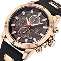 Casual Sport Watches for Men,Fashion Quartz Watch,MINI FOCUS Mens Chronograph Waterproof Wristwatch with Date Display (Gold Black)