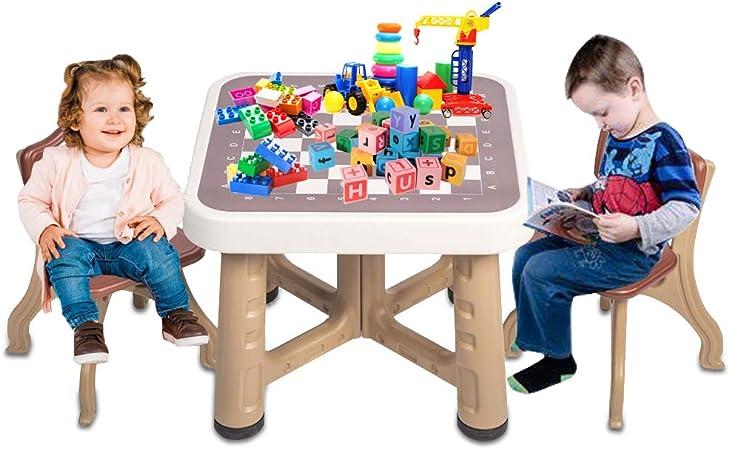 Dkeli Juego de Mesa para niños con 2 sillas con cajones de Almacenamiento, Juego de Mesa
