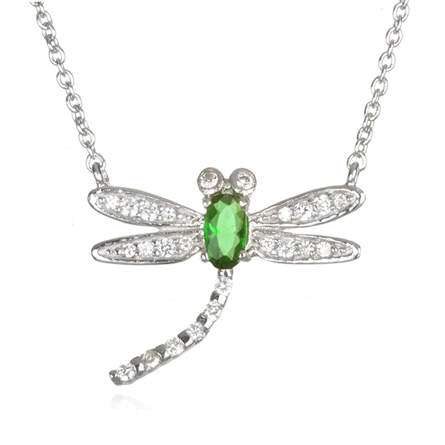 Mini Dragonfly Pendant with Cubic Zirconia Body in Green or White Color -18