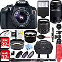 Canon EOS Rebel T6 Digital SLR Camera w/ EF-S 18-55mm IS + EF-S 75-300mm Lens Bundle includes Camera, Lenses, Bag, Filter Kit, Memory Cards, Tripod, Flash, Cleaning Kit, Beach Camera Cloth and More Basic Intro Review Image