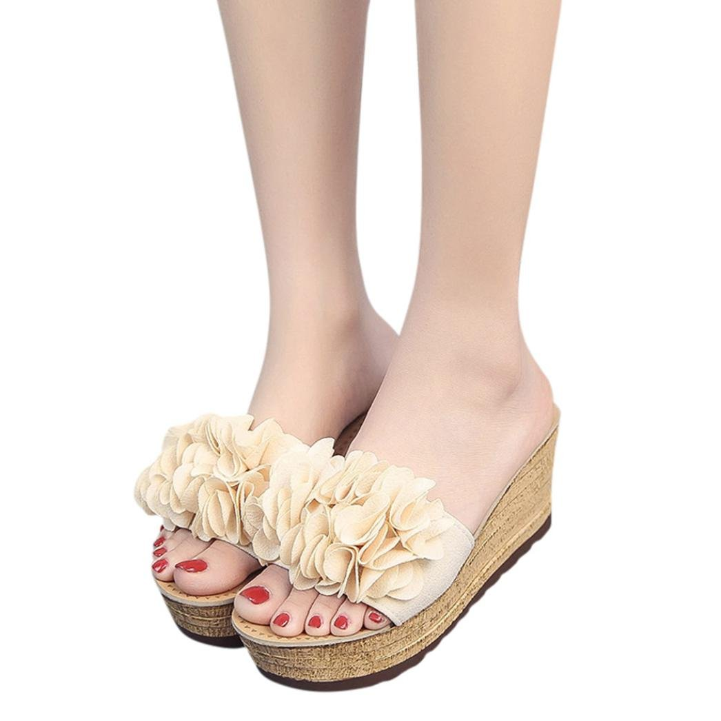 baigoods 2018夏花柄プラットフォーム防水レディースサンダルウェッジコットンファブリックスリッパSuper High Straw靴 B07BXJWK3F 🍭Beige US:7