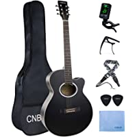 Acoustic Guitar Starter Kits Basswood Beginner Steel String Acoustic Guitar Package (40 Inch Nature Black)