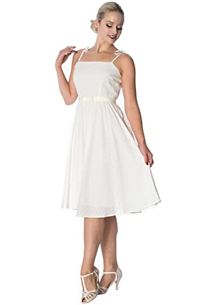 Banned Make A Wish Tabs 50s Style Swing Dress - Available in - OffWhite/UK