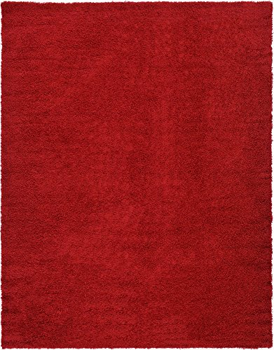 Unique Loom Solo Solid Shag Collection Modern Plush Cherry Red Area Rug (10' 0 x 13' 0) from Unique Loom