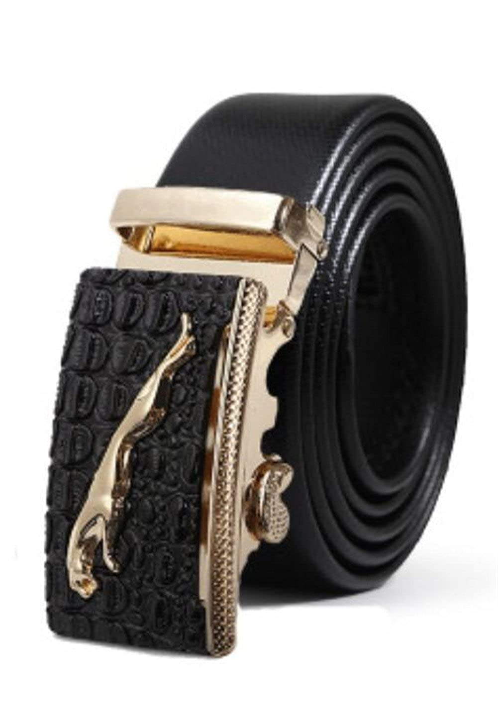 in inches Mens Belt Ratchet Belt Classic Dress Upscale Leather Fashion Automatic Buckle black14, waist20-43