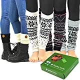 TeeHee Women's Fashion Leg Warmers and Boot Toppers 5- Pack with Gift Box Set (Style-B)