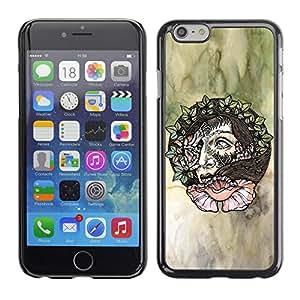 TopCaseStore / la caja del caucho duro de la cubierta de protección de la piel - Wreath Hair Woman Art Floral Watercolor - Apple iPhone 6