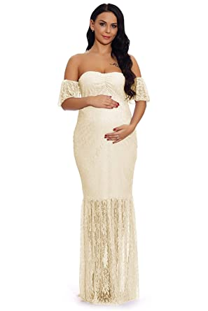 55408aea00876 ZIUMUDY Women's Off Shoulder Ruffle Sleeve Lace Mermaid Maternity Baby  Shower Gown Maxi Photography Dress (