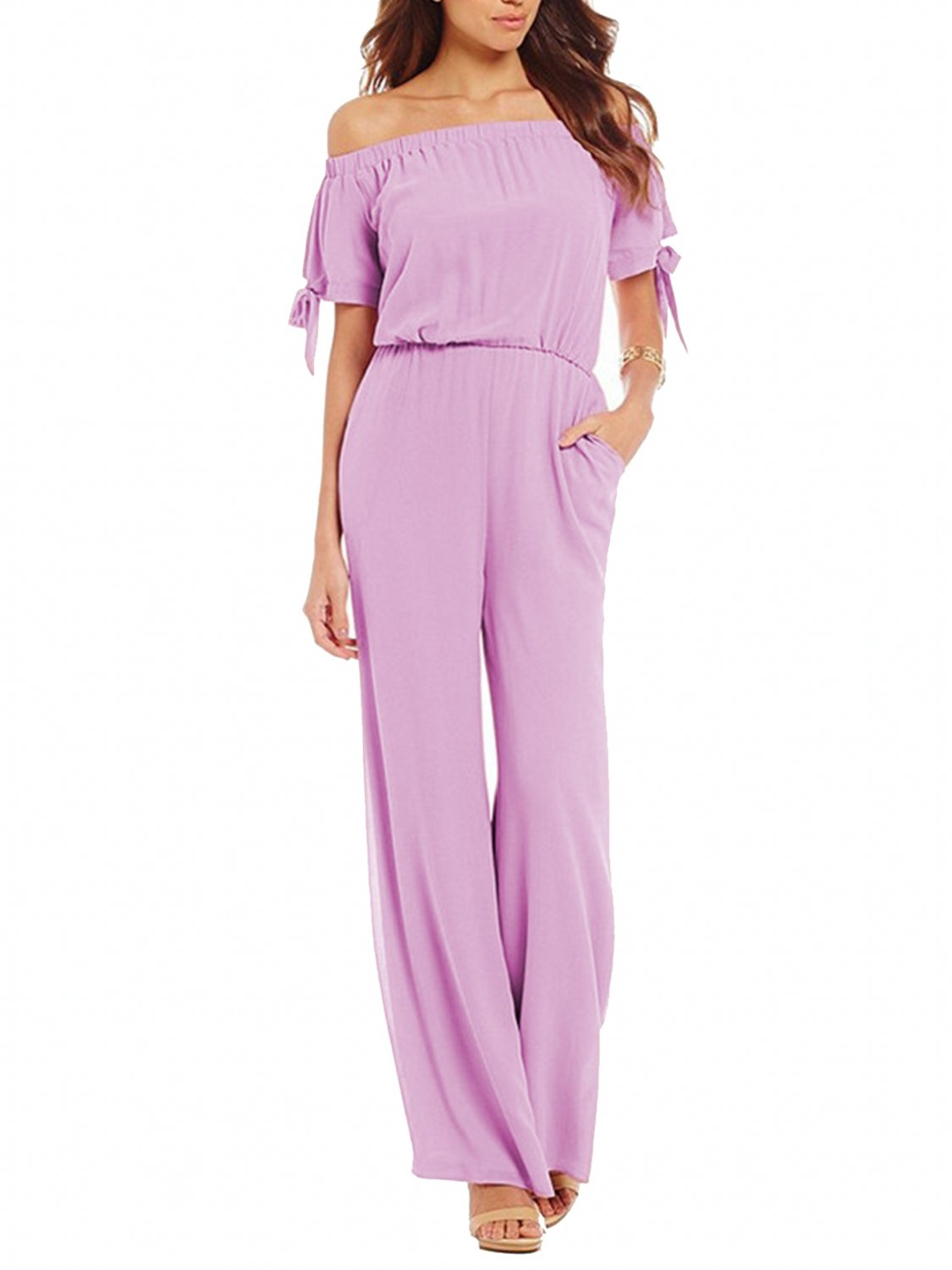 Women's Jumpsuit Loose Off The Shoulder Wide Legs Rompers with Pockets(Purple,S)