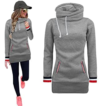 Amazon.com: Big Sale! Women Hoodie Sweatshirt Daoroka Long Sleeve Turtleneck Drawstring Pockets Pullover Blouse Autumn Tops: Clothing