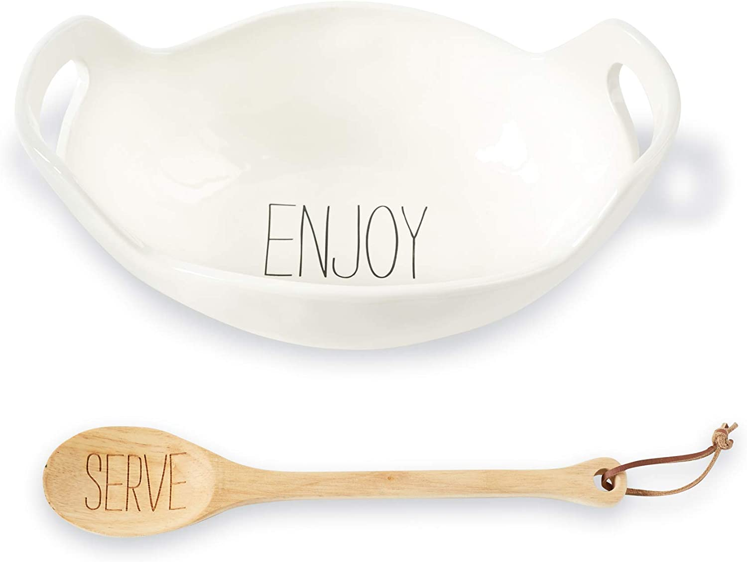 Mud Pie Vintage Inspired Handles Serving Bowl Set, One Size, White