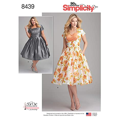 Simplicity Pattern 8439 BB Misses/Womens Dress with Bodice Variations by Sew Chic, Size 20W-28W
