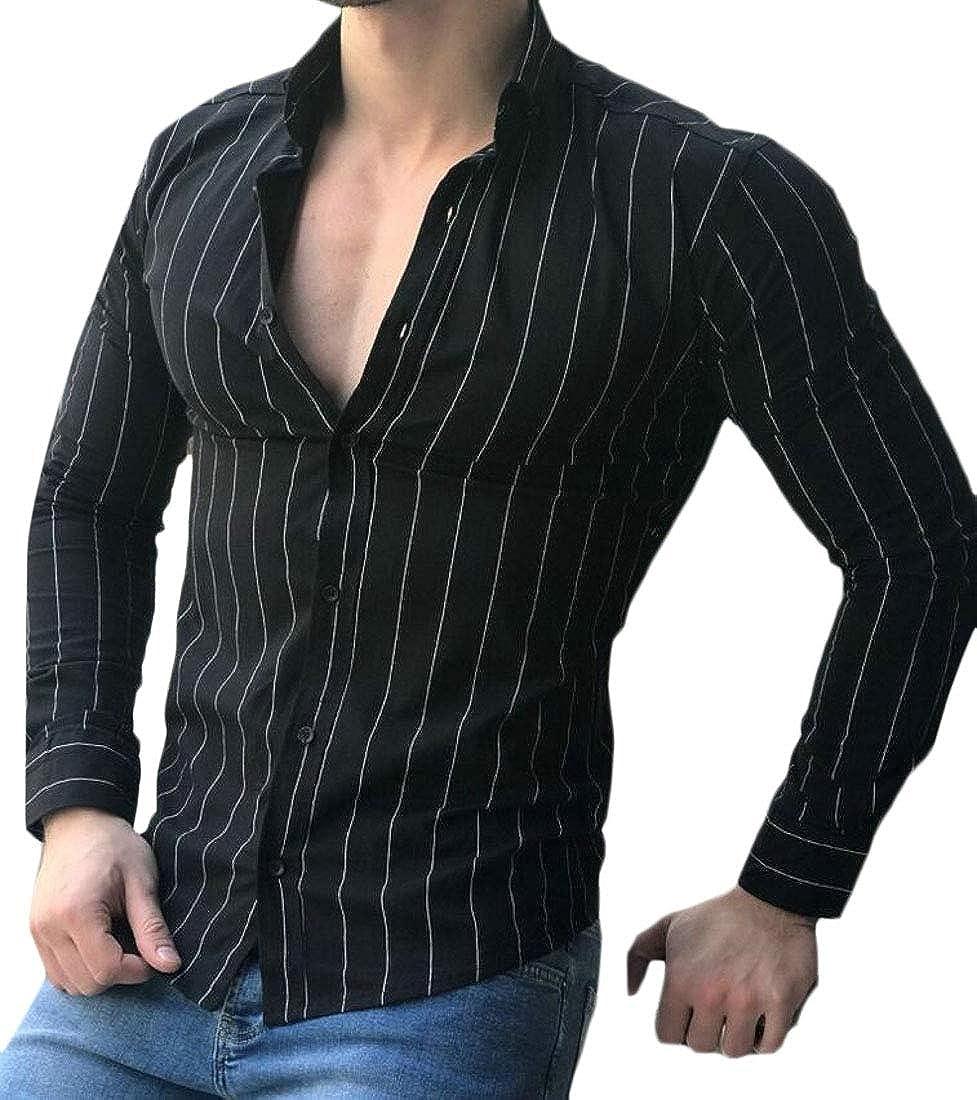 SHOWNO Mens Long Sleeve Slim Fit Stripe Print Button Down Lapel Casual Dress Work Shirt
