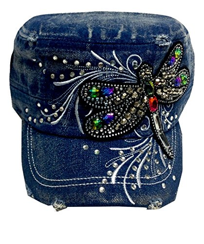 Dragonfly Denim (Butterfly Dragonfly Embroidered with Stones Cadet Style Womens Fashion Hat Cap - Choose Your Design and Color (Dark Denim -)