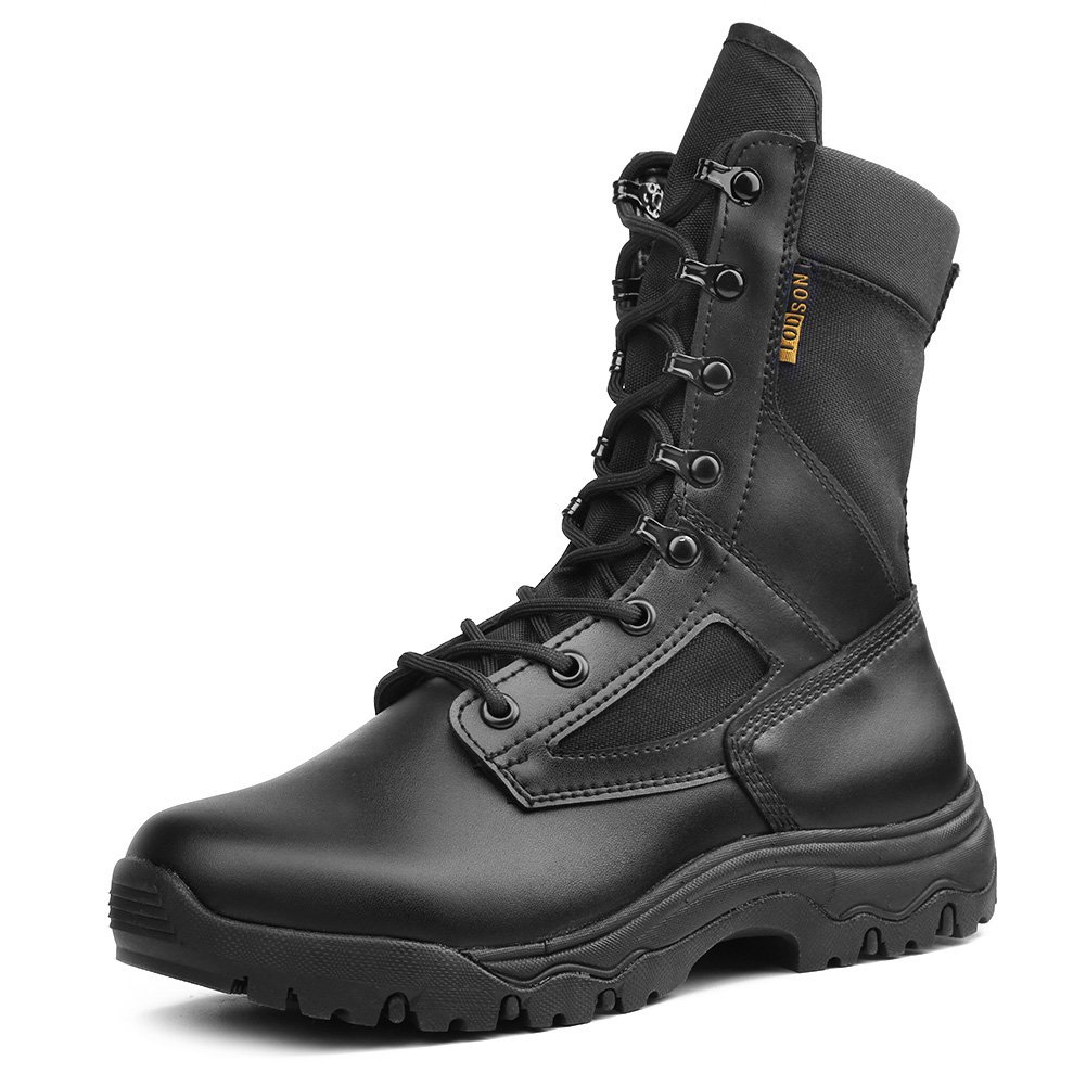 IODSON US New Military Athletic Tactical Comfort Leather Boots Mens' Ultra-Light Combat Boots Waterproof 10.5 D(M) US