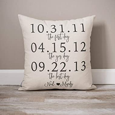 Penelope Personalized Wedding Gift Gift for Couple Newlywed Gift Custom Date Gift Gift for Bride and Groom Rustic Home Decor Throw Pillow