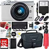 Canon EOS M100 24.2MP Mirrorless Digital Camera with EF-M 15-45mm IS STM Lens (White) + 32GB Accessory Bundle