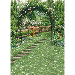 AOFOTO 6x8ft Wedding Arch Flower Photography Backdrop Romantic Garden Footpath Beautiful Spring Pergola Background Lovers Bride Girlfriend Artistic Portrait Photo Studio Props Vinyl Wallpaper Drape