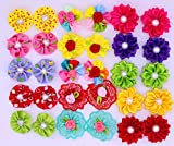 Yagopet 40pcs/20pairs Dog Hair BowsTopknot Rubber Bands Mix Round Bows Pearls petal flowers Dog Topknot Bows Pet Dog Grooming Bows Pet Supplies Hair Accessories