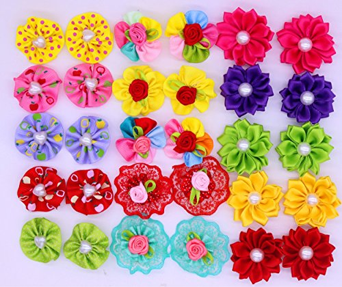 Yagopet 40pcs/20pairs Dog Hair BowsTopknot Rubber Bands Mix Round Bows Pearls petal flowers Dog Topknot Bows Pet Dog Grooming Bows Pet Supplies Hair Accessories by yagopet