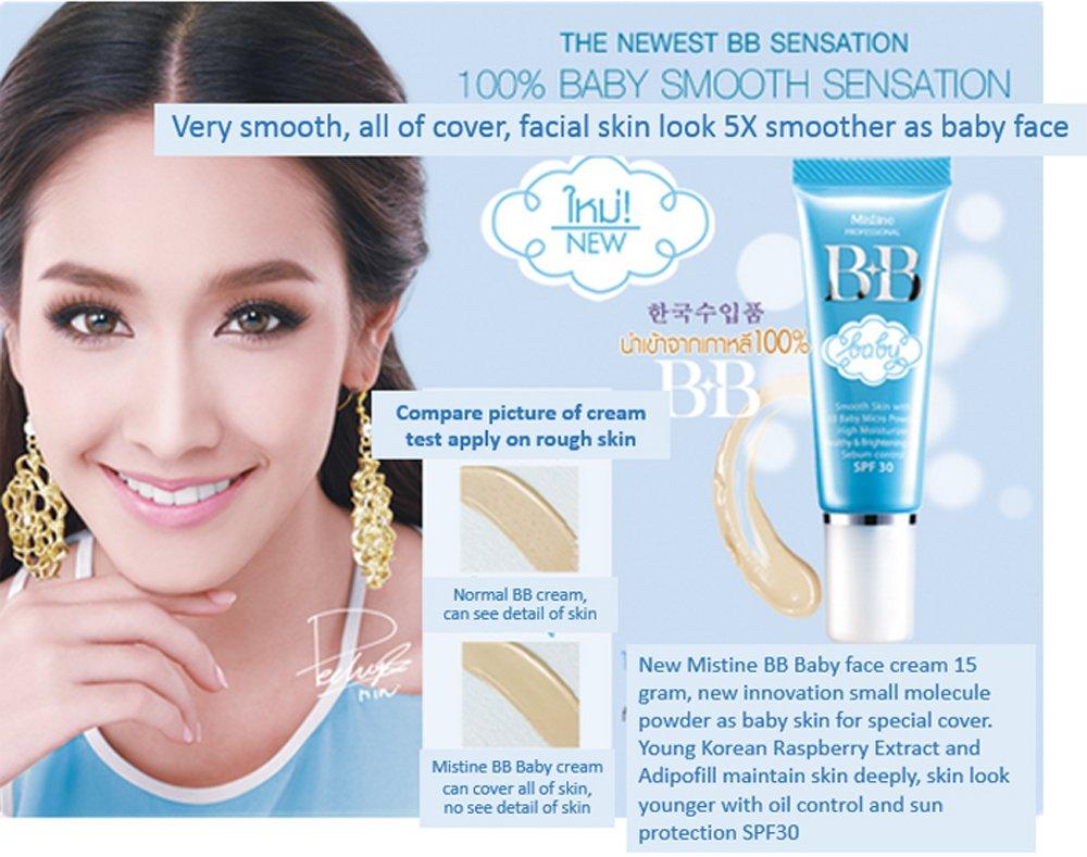 Mistine Bb Baby Face Cream Smooth Skin Moisture Micro Ql Cosmetic Eyebrow 15 Gr Powder Spf30 New Beauty