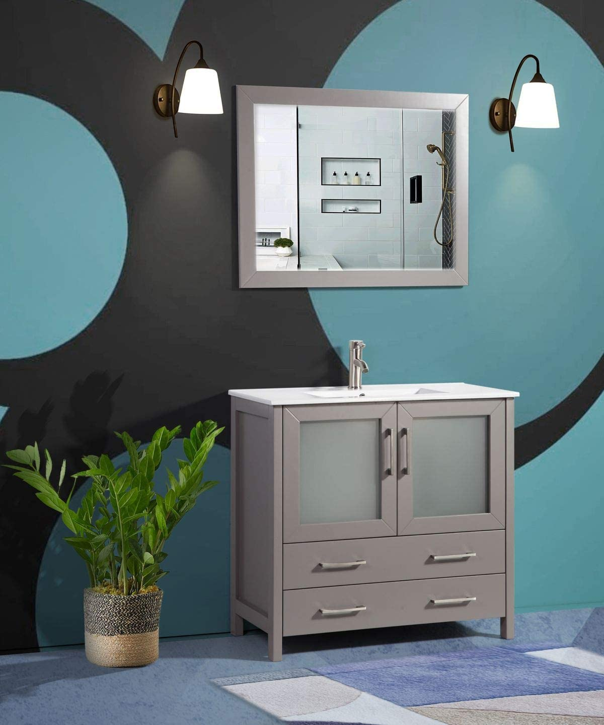 Vanity Art 36 Inch Single Sink Modern Bathroom Vanity Compact Set 1 Shelf 2 Drawers Ceramic Top Bathroom Cabinet With Free Mirror Va3036 G Kitchen Dining Amazon Com