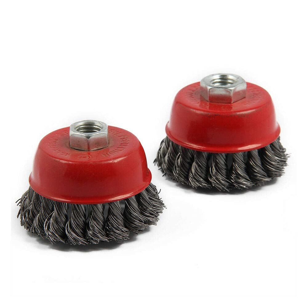 Studyset 2Pcs M14 Crew Twist Knot Wire Wheel Cup Brush Set for Angle Grinder Steel Wire /& Alloy Metals Twisted Crimped Wire Brushes Kit Package 2 2 100mm Bowl Brushes