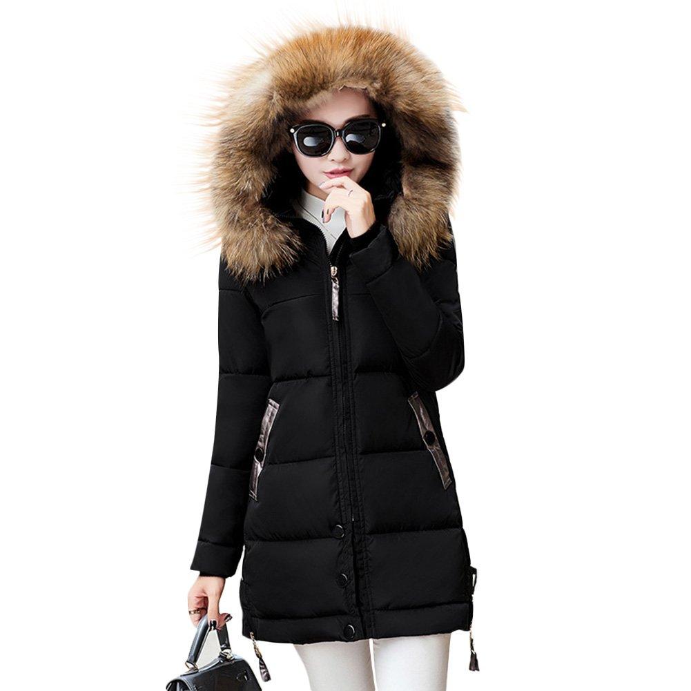Rela Bota Women's Winter Warm Down Coat Faux Fur Hooded Parka Puffer Jacket Long Overcoat XXX-Large Black