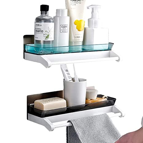 purchase cheap e91ce ac075 Laigoo Adhesive Floating Shelves with Towel Bar, Shower Caddy, No Drilling  Wall Mounted Bathroom Shelves Vanity Organizer(2 Pack, Black+Seagreen)