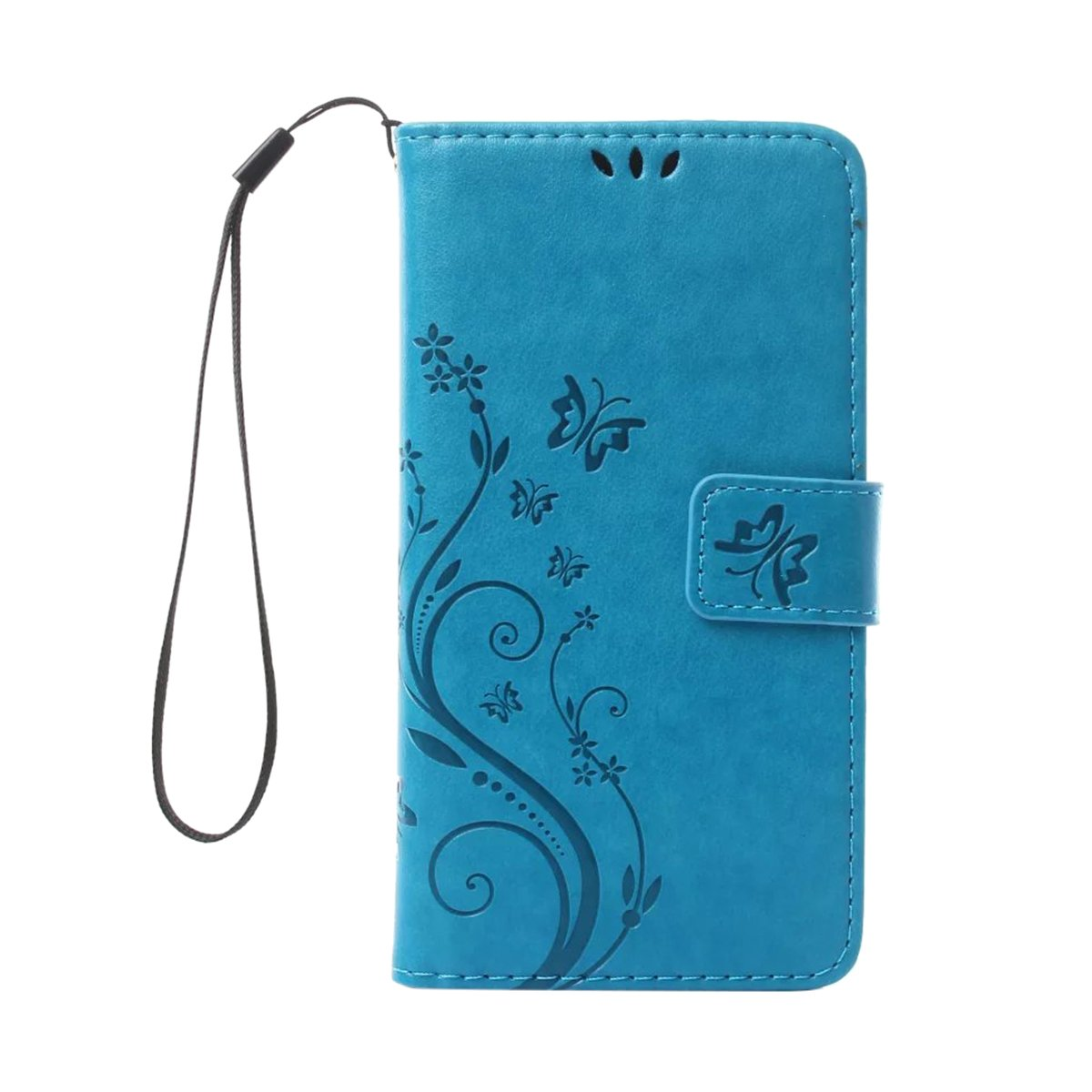 LG G6 beautiful Case , [Stand Function ] Fashion Flower Butterfly Pattern Retro PU Leather Wallet Case Flip Protective Cover with Card Slots & Wrist Strap for LG G6 (LG G6, blue) BTJP
