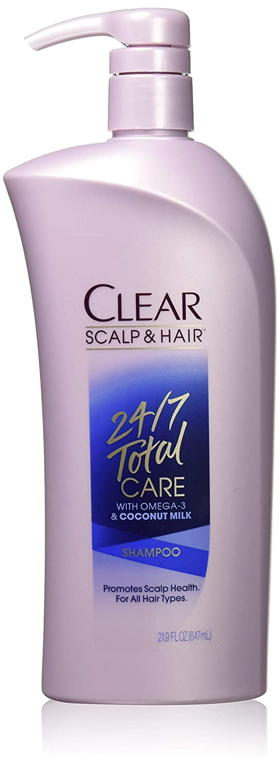 Clear Shampoo With Pump, 24/7 Total Care, 21.9 Ounce (Pack of 4)
