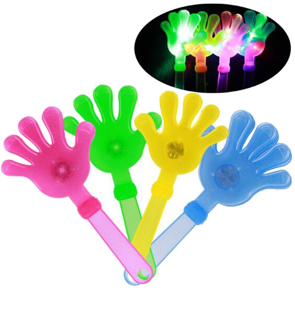 24 Pieces wholesale bulk lot ASSORTED COLOR LIGHT UP FLASHING CLAPPING CLAPPER HAND NOISE MAKER