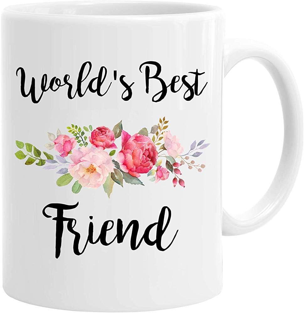 InterestPrint Mundo de cerámica blanca 'con el mejor amigo Taza de café Taza con flores Regalo de cumpleaños divertido para la familia BFF Amigos 11 onzas