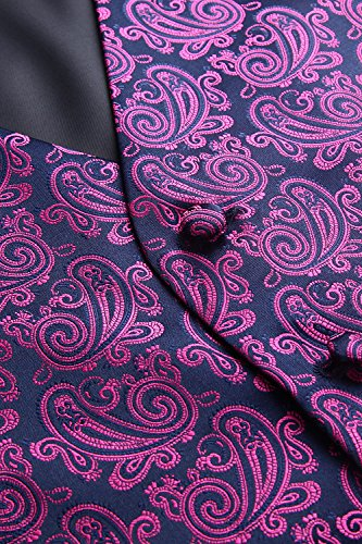 Floral Uomo Jacquard Navy Gilet Paisley Blu Da Taschino Classico E Hisdern Cravatta Rosa Fazzoletto Ef6IX