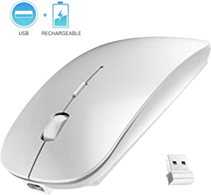 Rechargeable Wireless Mouse, 2.4G Slim Mute Silent Click Noiseless Optical Mouse with USB Receiver Compatible with Notebook, PC, Laptop, Computer, MacBook (Silver)