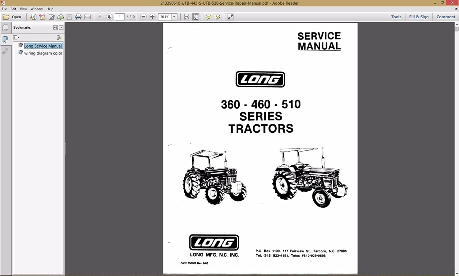 61U5vUj8hzL._SL1500_ amazon com long 360 460 510 2460 series tractor service repair long 2360 tractor wiring diagram at edmiracle.co
