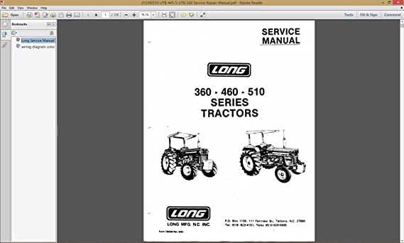 amazon com long 360 460 510 2460 series tractor service Long Tractor Company