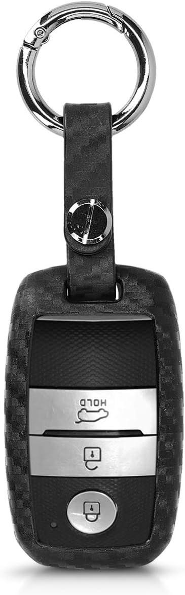 kwmobile Accessoire cl/é de Voiture pour Kia Coque pour Clef de Voiture Smartkey Kia 3-Bouton en Silicone Noir /Étui de Protection Souple