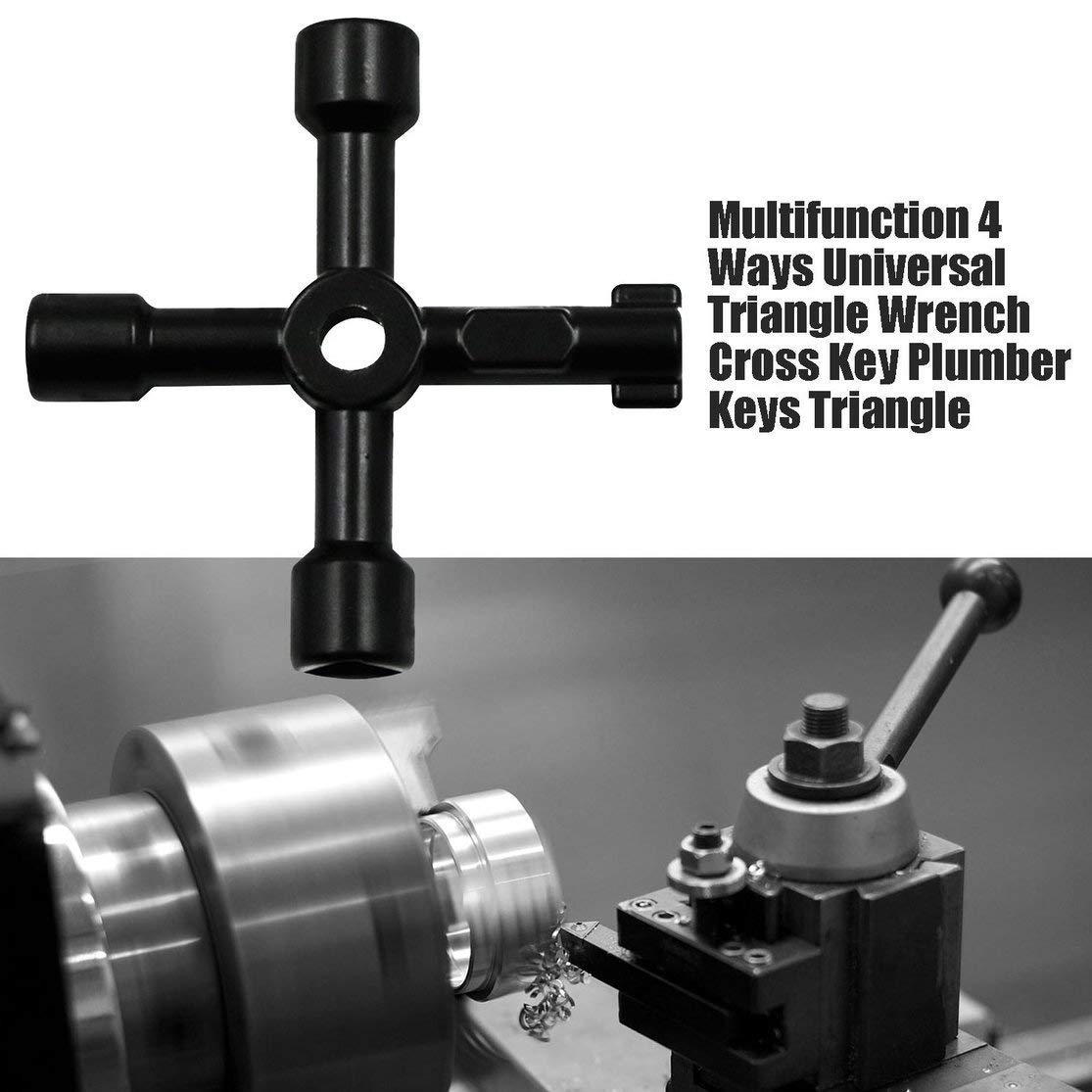 Color:black Multifonction 4 fa/çons cl/é universelle Triangle cl/é Croix plombier pour armoires de compteurs /électriques /à gaz purge les radiateurs Kaemma