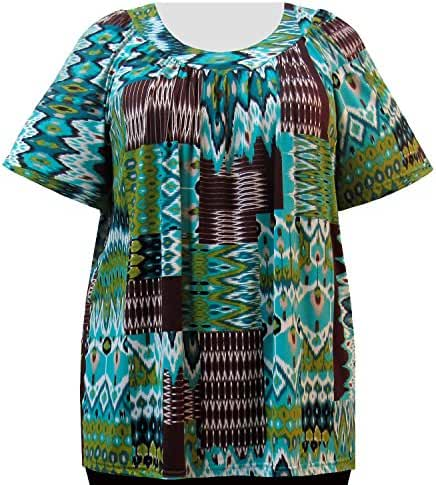 A Personal Touch Cocoa & Teal Tribal Women's Plus Size Top