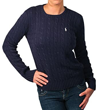 Polo Ralph Lauren Women's V-Neck Cable Knit Sweater (X-Large, Navy ...