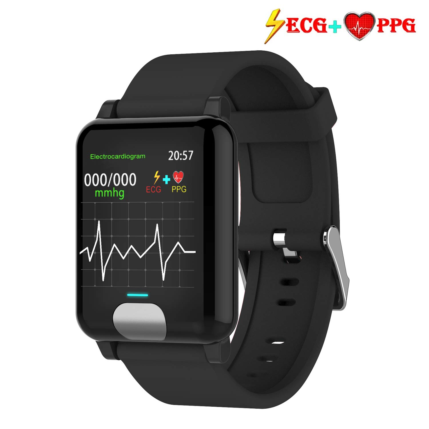 Fitness Tracker HR,ISWIM Color Screen ECG PPG Smart Watch,IP67 Waterproof, Activity Tracker with Heart Rate Blood Pressure Calories Pedometer Sleep Monitor Call/SMS Remind for Smartphones Gift (Black)